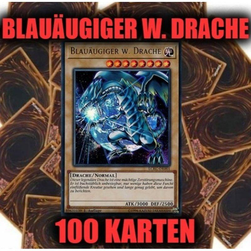 Drache + 100 Karten Sammlung Yugioh Sparangebot! Blauäugiger w Ultra