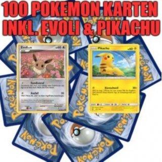 Pokemon Karten Gx Pikachu.100 Pokemon Karten Inkl Pikachu Evoli Let S Go Pikachu Let S Go Evoli